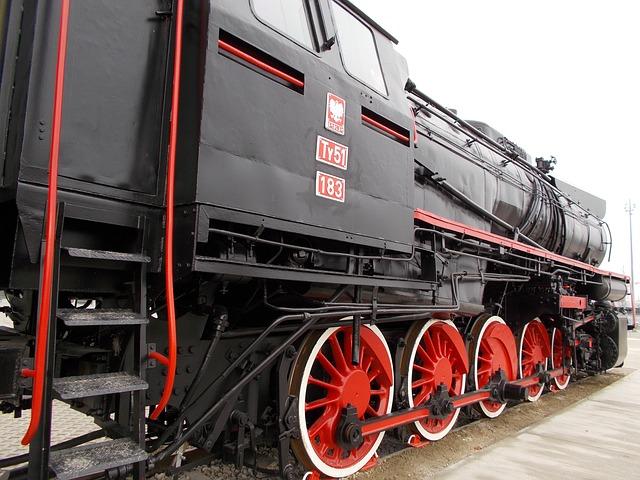 černá lokomotiva, červená kola